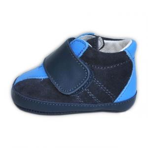 Scarpine Neonato Polacchetto Blu e Azzurro Made in Italy Artigianale
