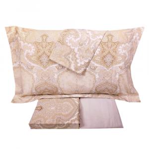 Set lenzuola matrimoniale 2 piazze MIRABELLO percalle SHERAZADE beige