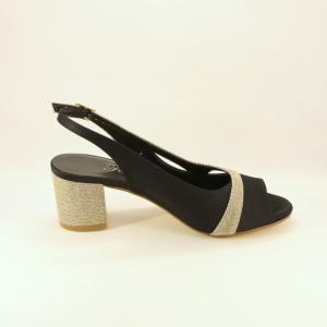 Sandalo donna elegante da cerimonia in tessuto di raso nero e inserti tessuto glitter oro con cinghietta regolabile