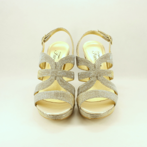 Sandalo donna elegante da cerimonia in tessuto glitter oro con cinghietta regolabile e tacco largo