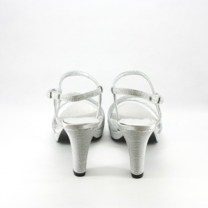 Sandalo cerimonia donna elegante argento glitter e cinghietta regolabile.