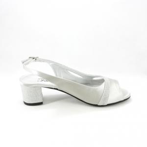 Sandalo donna elegante da cerimonia in tessuto di raso grigio e inserti tessuto glitter argento con cinghietta regolabile
