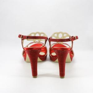 Sandalo donna elegante da cerimonia in tessuto glitter rosso fuoco con cinghietta regolabile e tacco sfilato.