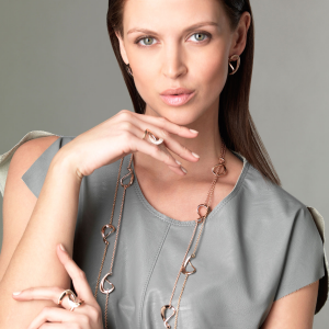 Necklace cm.90 in rose gold and diamonds