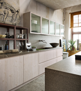 Cucina in legno senza maniglia
