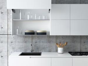 Cucina moderna laccata opaca e legno