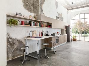 Cucina moderna componibile in essenza e corda