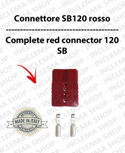 Connettore SB 120 Rosso completo di morsetti per batterie e caricabatterie