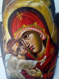 Icona Bizantina della Madonna della Tenerezza dipinta su tronco