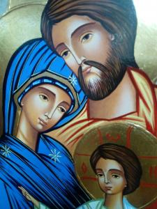 Icona Bizantina Sacra Famiglia dipinta a mano cm. 23 x 31