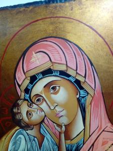 Icona Bizantina della Madonna della Tenerezza di Vladimir o Vladimirskaja cm. 32 x 44
