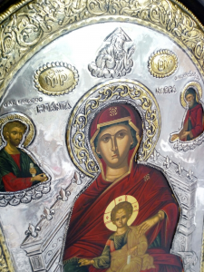 Icona Greco-Bizantina dipinta a mano e Riza in Argento