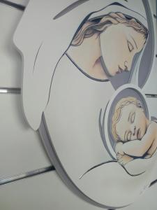 Capezzale-Capoletto Madonna con Bambino cm. 50 x 70 Luigi Pesaresi sfondo avorio