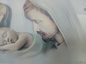 Capoletto Sacra Famiglia stile moderno artista Luigi Pesaresi (Estego) formato cm. 65 x 34