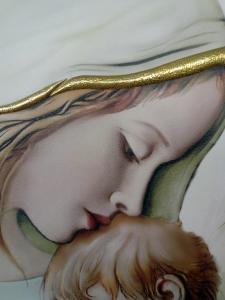 Quadro Capo letto Madonna con Bambino dell'artista Luigi Pesaresi  cm.50 x 28