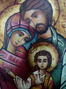 Icona Bizantina della Sacra Famiglia cm. 14 x 18 dipinta a mano