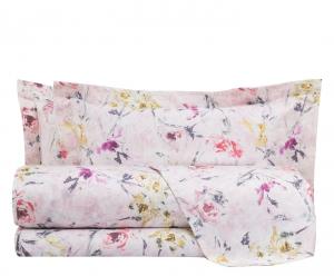 Set lenzuola matrimoniale MIRABELLO in raso ROSALIND rosa