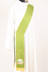 Stola Diaconale SD10 M0 Verde - Faille Misto Lana