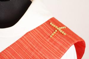 Stola Diaconale con Perle SDP309 M2 Rossa - Seta Righe