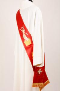 Stola Diaconale SD2 M0 Rossa - Faille Misto Lana