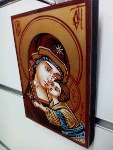 Icona Bizantina Madre di Dio della Tenerezza o di Vladimir cm. 10 x 14