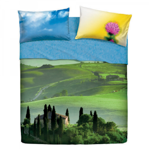 Set double sheets 2 squares BASSETTI BEAUTIFUL PLACE effect bedspread