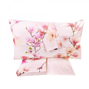 Set lenzuola matrimoniale ESSENZA HOME Magnolia rosa effetto copriletto