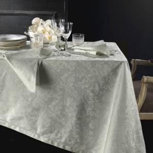 Tovaglia PIAZZA PITTI 180x280 cm in fiandra con 12 tovaglioli grigio perla Manuela