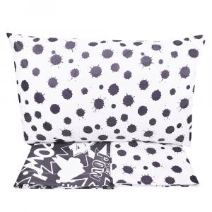 Set lenzuola piazza e mezza in puro cotone COMICS nero