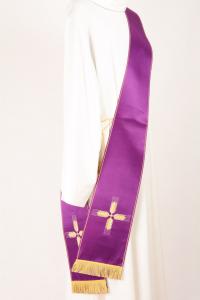 Stola Diaconale SD27 M0 Viola Ricamo Croci Spighe Faille Misto Lana