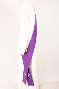 Stola Diaconale SD74 M4 Viola - Misto Lana Pesante
