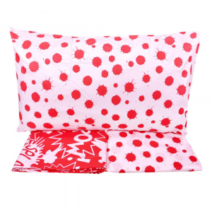 Set lenzuola matrimoniale 2 piazze in puro cotone COMICS rosso