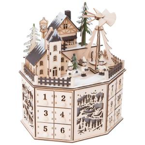 Calendario dell'Avvento in legno con piramide e casette con luci