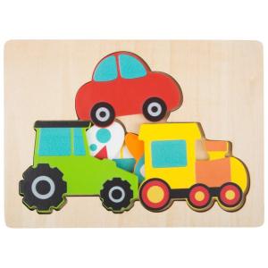 Puzzle in legno a strati Veicoli. Gioco per bambini