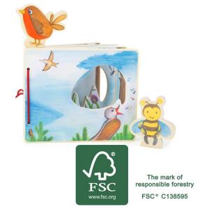Libro illustrato interattivo per bambini  in legno Tra le nuvole