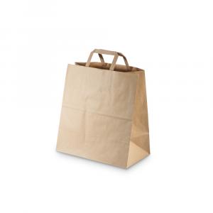 Shopper carta riciclata 90gr fondo largo per asporto misura media -28x16x30 cm