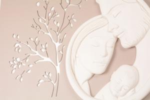 Quadro Capoletto Sacra Famiglia Foglie Bianco 596CB2 80x40 cm