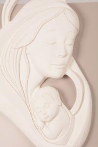Quadretto Madonna con Bambino Bianco Luna 5953B 38x38 cm