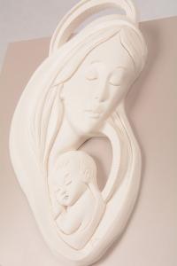 Quadretto Madonna con Bambino Bianco Luna 5952B 23x23 cm
