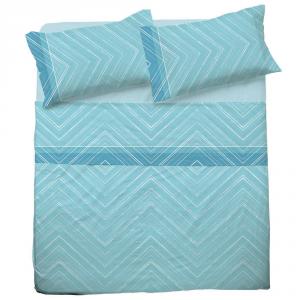Set lenzuola per letto piazza e mezza FRANCESE  in puro cotone MICHELLE azzurro