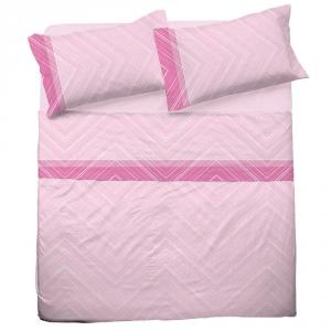 Set lenzuola per letto piazza e mezza FRANCESE  in puro cotone MICHELLE rosa