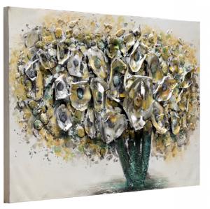 Quadro realizzato a mano Flowers in silver