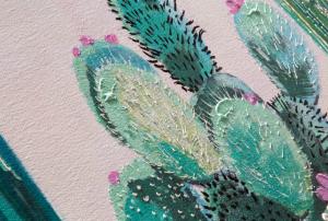Dipinto a mano Cactus on a pink sky