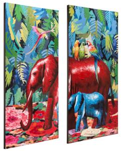 Set di dipinti a mano Elephant in the jungle