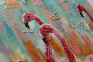Dipinto a mano Pink flamingos