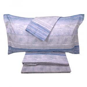 Set lenzuola invernali matrimoniale 2 piazze caldo cotone Chamonix righe azzurro
