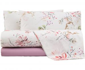 FAZZINI completo lenzuola Maxi matrimoniale LOTUS percalle floreale rosa