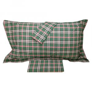 Set lenzuola matrimoniale 2 piazze RANDI Tinto in filo scozzese CLAN 30 verde