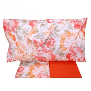 Set lenzuola matrimoniale 2 piazze in cotone HAPPIDEA Zefiro arancio e rosso