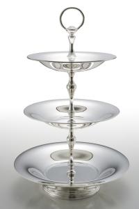 Alzata 3 piani stile Cardinale argentato argento sheffield cm.50h